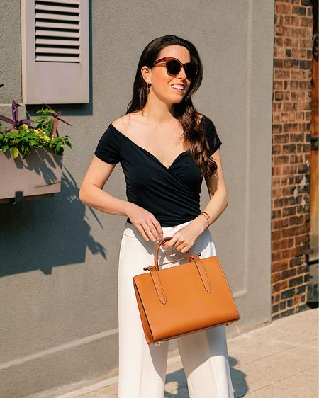 Off the shoulder top in size S, white crop pants, camel tote bag, summer outfit, business casual, work wear, crop pants,  work outfit,    http://liketk.it/3jVG6 #liketkit @liketoknow.it #LTKitbag #LTKunder50 #LTKworkwear