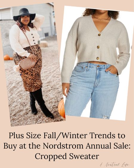 #NSale I'm sharing the plus size fall/winter trends you can buy TODAY at the Nordstrom sale.  I love a cropped cardigan to spice up denim, a slip skirt or anything else. This one is UNDER $30 and available up to a size 4X!!!  #LTKcurves #LTKsalealert #LTKunder50