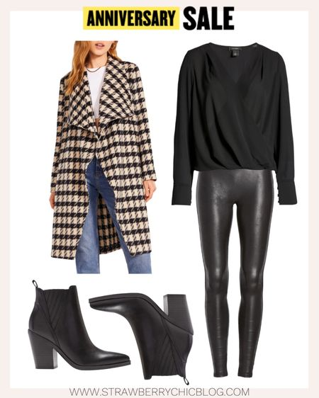 A fun night out look with faux leather leggings and black blouse paired with booties. All items in this look are under $100 for the Nordstrom Anniversary Sale.   #LTKsalealert #LTKunder100 #LTKstyletip