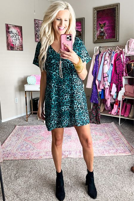 Buddy love leopard dress size M Black booties TTS  Gold bracelet stack Fall dress  #LTKstyletip #LTKunder100 #LTKshoecrush