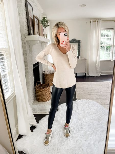 This long-sleeve tee is the perfect length for pairing with a legging!