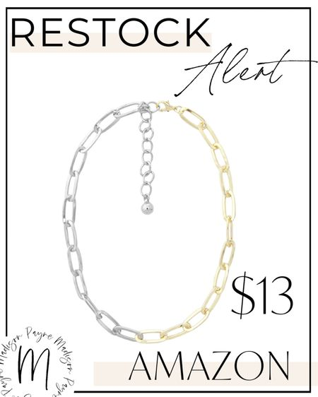 🚨RESTOCK ALERT🚨 this mixed metal necklace is back! It won't stay in stock long because it never does. Hurry and snag it! #amazon #amazonfinds #amazonfashion #amazonstyle #amazondeals #amazonsale #necklace #jewelry #fallfashion   #LTKSeasonal #LTKunder50 #LTKstyletip