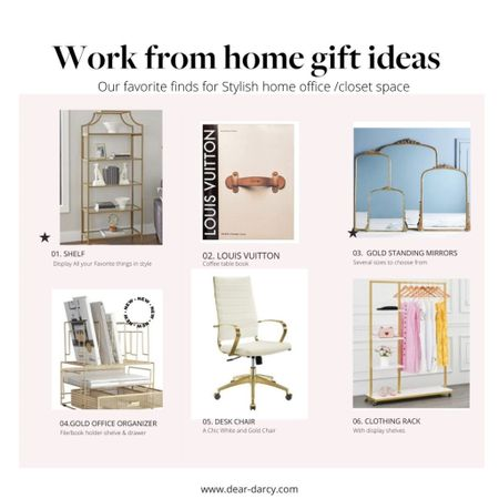 Holiday Gift guide.. For the work from Home /closet  🌸🎁 White and gold Home office or closet.. Pieces to help create a space she'll love. . Great gift ideas .   #LTKhome #LTKGiftGuide