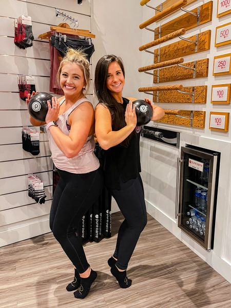 Pure Barre besties! My sister in law and I just hit 250 classes together! Lift tone burn 🔥 high rise compression yoga pants are a must for this mama! #purebarre #lululemon #workout #barrebesties   #LTKcurves #LTKunder50 #LTKfit