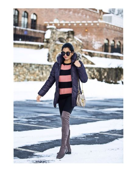 Bundled up in this cozy chic puffer coat paired with suede boots!💜  Outfit details- http://liketk.it/2zu6H #liketkit @liketoknow.it
