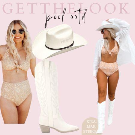 white booties // cowboy boots // western boho // pool // bikini // swimsuit // summer style // swimsuit coverup // cowboy hat   #LTKunder50 #LTKsalealert #LTKstyletip