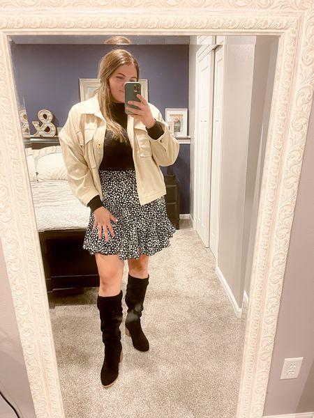 Fall outfit #familyphotoinspiration #tallboots #fallskirt   #shacket#LTKcurves #LTKunder50 #LTKSeasonal