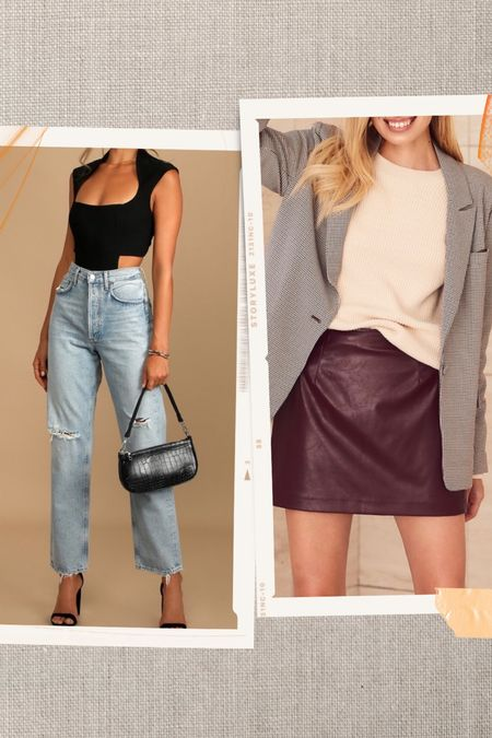 Cute and easy fall going out looks! Love the cutout bodysuit and chic blazer and skirt combo   #LTKSeasonal #LTKunder50 #LTKstyletip