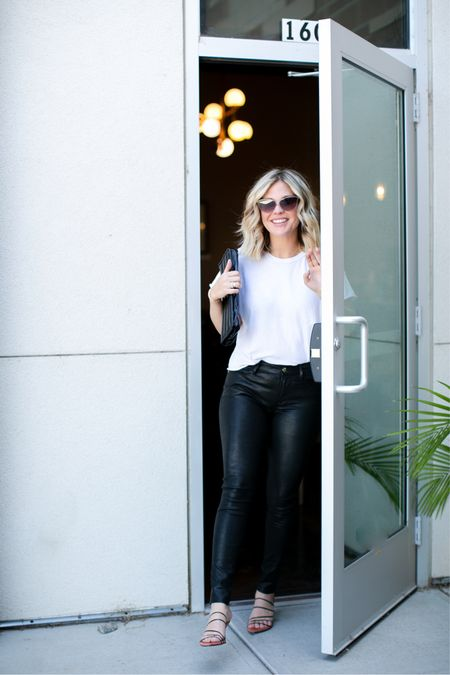 Love a leather pant and a plain white tee. The perfect casual cool look 😎 White t-shirt, leather pants, black clutch, sunglasses   #LTKshoecrush #LTKstyletip #LTKSeasonal