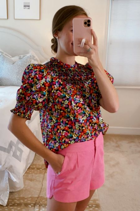 Such a precious floral smocked blouse! Wearing an XS, my usual size.