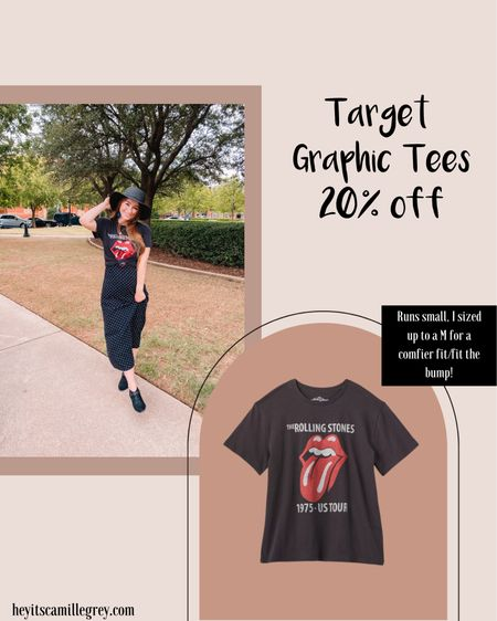 Target graphic tees, 20% off! I sized up to a medium for this Rolling Stones tee for a comfier fit and to fit the bump Amazon fringe earrings, super lightweight!  Polka dot slip dress Western ankle booties Black straw hat   #LTKsalealert #LTKunder50 #LTKbump
