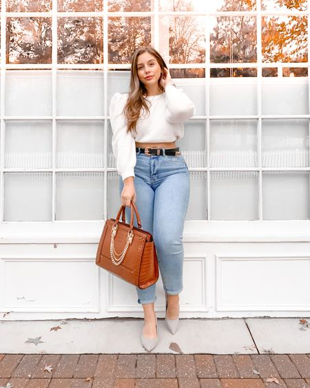 [#justfabpartner] Over here loving the fact that my work uniform can be whatever the heck I want it to be nowadays. Cropped sweater, jeans, @justfabonline pumps, and purse? Great. Sweatpants and slippers? Fabulous 😅 Toss in my newfound #bodypositive outlook and baby we've got some CONFIDENCE brewing! Seriously though, I am in love with this purse and these pumps from Just Fab ✨ The purse is the PERFECT size for my MacBook, calendar, and wallet and the pumps just the right height so that they're comfy & chic!  #LTKcurves #LTKFall #LTKshoecrush