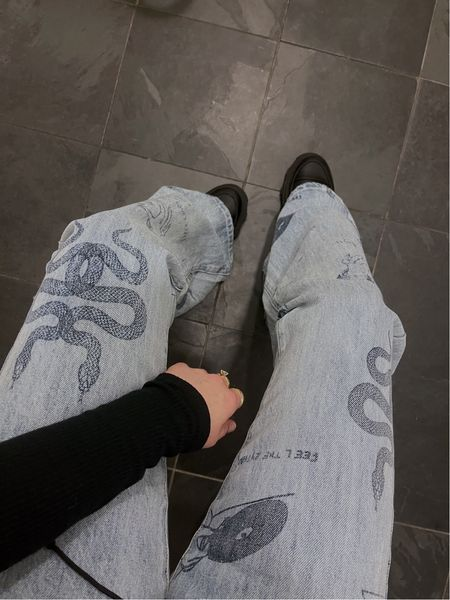 Tattoo denim jeans   #LTKunder100 #LTKstyletip #LTKSeasonal