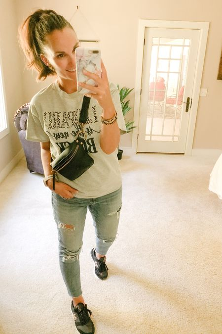 """PD all day, tomorrow phone conferences with families and Thursday I get to see (some) of my kiddos in person!! Lived in my leopard New Blanace tennis shoes today and I still feel like I'm walking on air! Came home to this adorable belt bag/fanny pack (whatever you like to call it). It's literally the perfect size to fit just my essentials, including my phone and it comes in a cognac color too! Also who doesn't agree with this """"leopard is the new black"""" statement T?! 🐆   http://liketk.it/2Vedf #liketkit @liketoknow.it"""