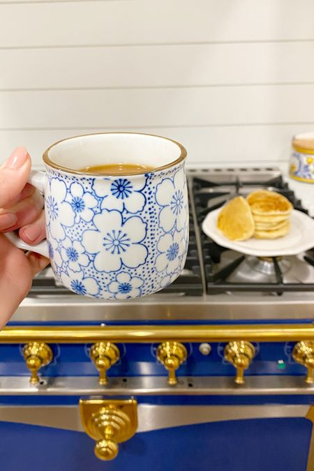 Blue and white painted coffee mugs and oven       #LTKhome