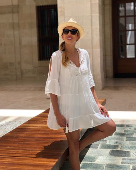 Post # 12 * 375 days of outfits #fashionchallenge * Nothing better than a white cotton casual dress for a hot summer day.  Today we are exploring MALAGA city with some great friends. The day is very bright and sunny, the heat is on. ☀️  ..... Feeling great with this fresh style. This cute white dress is from @RivieraCoco.  I am wearing a classic Panama hat, @Balmain Paris black and white sunglasses and cute white wedges sandals. What do you thing about my tourist outfit? .....  You can instantly shop my looks by following me on the LIKEtoKNOW.it shopping app http://liketk.it/2TN7S  Happy to be part of @liketoknow.it @liketoknow.it.europe  .....  #liketkit #LTKtravel #LTKeurope #LTKunder100  #rivieracoco #brunereaulaura #luxefashionblog #marbellalifestyle #malaga #andalucia #spain2020 #outfitoftheday