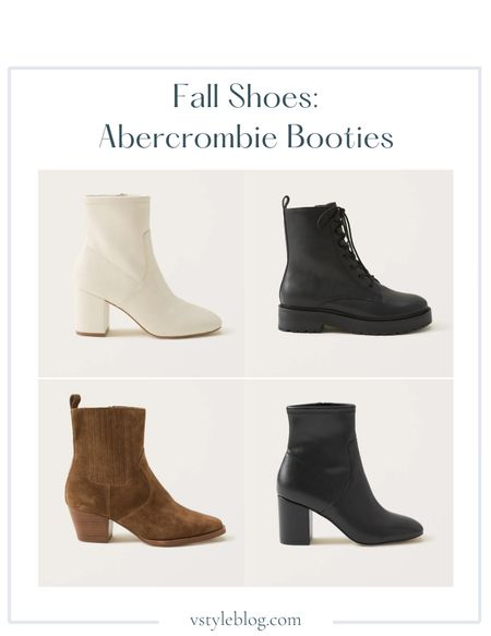 Boots, Fall outfits, Teacher outfits, Work wear, Fall family photos, Booties, White booties, Black booties, Brown booties, Combat boots, LTK Day Sale  Abercrombie  Vivianne Leather Ankle Boots in Ecru ($169) Samira Combat Boots ($169) Margaux Leather Western Ankle Boots ($169) Vivianne Leather Ankle Boots in Black ($169)  #LTKshoecrush #LTKSeasonal #LTKSale