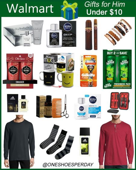 Walmart Finds  Gifts for him under $10       http://liketk.it/3pROE @liketoknow.it #liketkit #LTKGiftGuide #LTKHoliday #LTKSeasonal #LTKunder50 #LTKmens #LTKstyletip #LTKsalealert Gift guide | Christmas Gifts | Body Lotion | Gift Set | Long Sleeves T-shirts | Socks | After Shave | Cologne | Gift Ideas | Men's Gifts |
