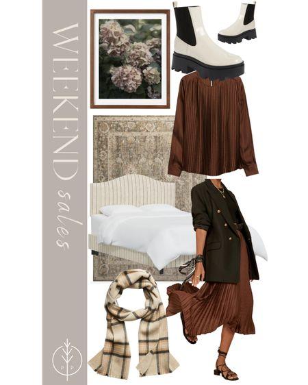 Weekend sales (floral print, pleated skirt, plaid scarf, rug, boots, and more)   #LTKsalealert #LTKstyletip #LTKhome