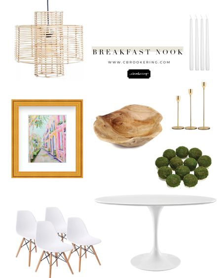 Love love love this cozy breakfast nook inspo! Shop everything you need for your dining room/breakfast area! I love mixing neutrals, rattan, and greenery in my rooms and adding a pop of color with framed artwork! This Charleston print can be found on www.cbrookering.com http://liketk.it/3gLCh #liketkit @liketoknow.it