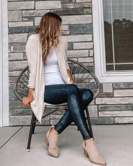 Barefoot dreams cardigan / white tank top / Spanx faux leather leggings / beige booties / initial pendant necklace #LTKunder100 #LTKsalealert #LTKstyletip