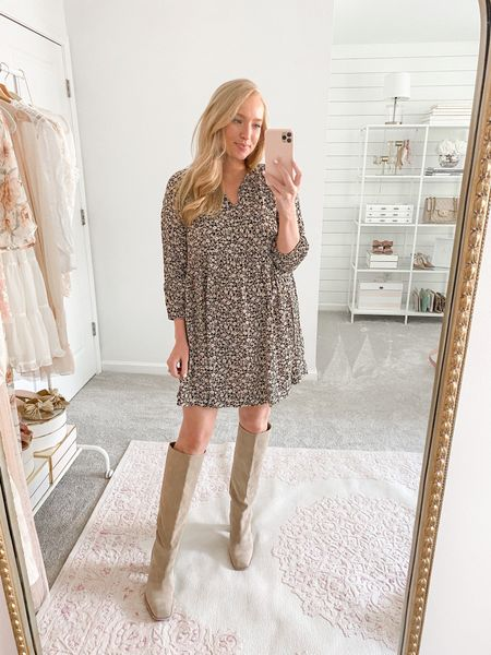 One of my favorite Walmart purchases to date! Such a cute floral dress for fall under $50. Wearing a small  Walmart outfit // Walmart dress // fall dress // fall outfit