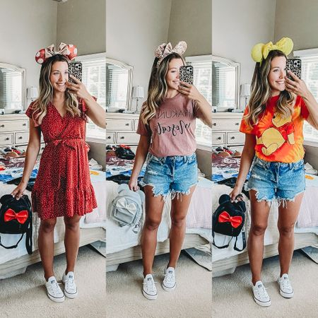 Disney park outfit ideas! 🐭💕🏰 easy and casual outfits including a breezy dress and tees and versatile jean shorts and comfy shoes! Plus a $15 backpack in different colors so you can stay hands free in lines and easy to carry on the rides! #LTKunder50 #LTKstyletip #LTKfamily @liketoknow.it.family #liketkit @liketoknow.it http://liketk.it/3iXjb