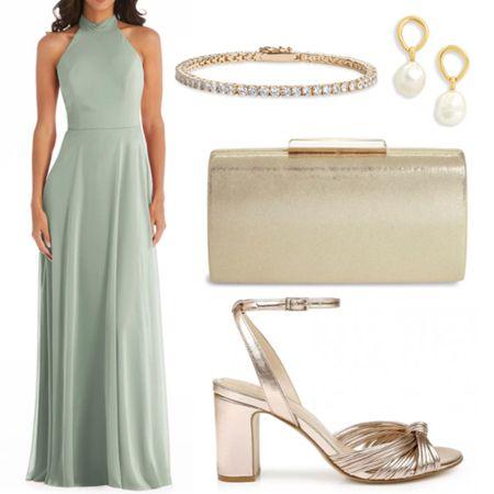 Wedding guest outfit inspiration  . . . Formal dress, wedding outfit, cocktail dress, full length dress, halter dress, green dress, sage dress, sage green, gold accessories, clutch, formal sandals, heels, tennis bracelet, what to wear wedding, pearl earrings, gown, evening gown  #LTKstyletip #LTKwedding #LTKSeasonal