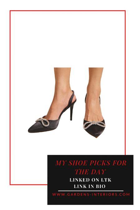 Black satin embellished heels  #weddingguestdresses #weddingguestshoes #weddingguestoutfit #partyshoes #eveningheels #blackheels    #LTKshoecrush #LTKSale #LTKwedding