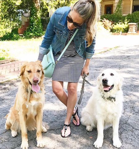 Another look at today's Sunday stroll outfit 🐾 These two guys just melt my heart ❤️ And Huck's eyes 😍😂 My dress is currently only $18!! Outfit details here or through the link in my profile -> http://liketk.it/2r805 #liketkit @liketoknow.it