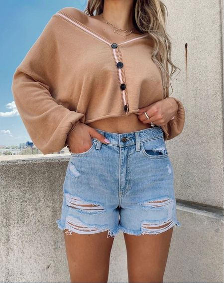 Jean shorts, sweaters, nude sweater, cardigans, fall outfits, summer outfits, high waisted shorts, fall outfit inspo, ripped denim, cute sweaters  #LTKunder100 #LTKstyletip #LTKsalealert