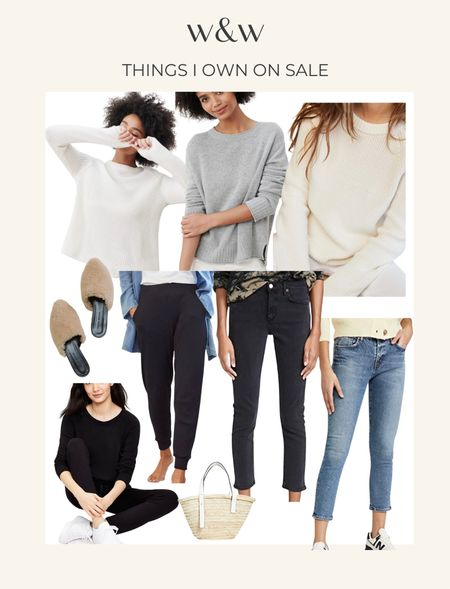 Things in my closet now on sale!  Jenni Kayne cashmere and cotton sweaters (I wear a M in all three)  The best lounge set from Lou & Grey (recommend sizing down)  Ribbed joggers from Amour Vert  Jenni Kayne mules slides  My favorite summer straw tote  The best ankle crop jeans! I wear a 27 in both.   #LTKSeasonal #LTKsalealert