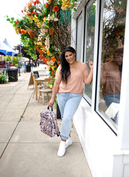 """Vera Bradley new print in tangier paisley + new fall favorites! Use code """"queencarlene"""" for 10% off   Shirt is aerie (L), jeans are seven (31, TTS), & shoes are converse (size down 1.5 sizes)  Vera Bradley collection, travel essentials, #verabradley, travel must-haves, backpacks, floral bags, Vera Bradley travel, casual style, midsize, mid size, aerie, light denim jeans, converse, high rise denim, size 12, size 14, high tops   #LTKcurves #LTKSeasonal #LTKitbag"""