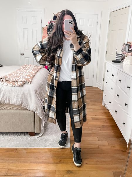 Fall outfits, amazon fall, women's fall outfits, plaid jacket, curvy fashion, size 10, Spanx leggings dupe, outfit inspiration, minimalist style  #LTKcurves #LTKbacktoschool #LTKunder50