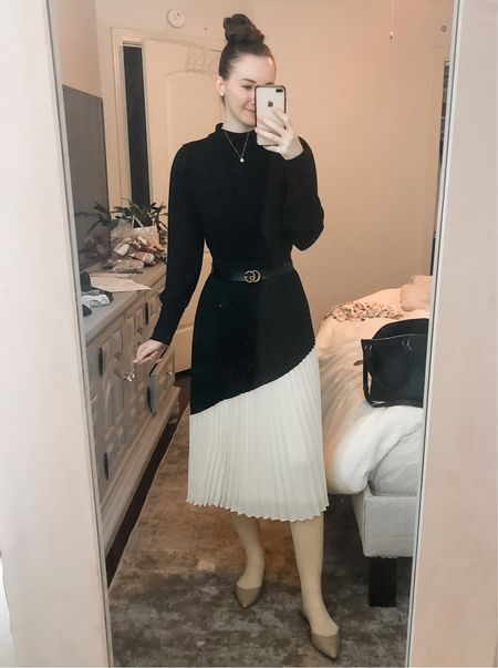 Business casual, work wear, office wear, real estate agent, realtor outfit, midi skirt work outfit, modest work outfit, fleece lined tights  #LTKworkwear