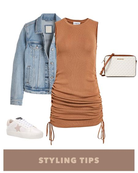A ruched dress paired with a denim jacket , white sneakers and crossbody bag makes a comfy but cute spring outfit. Shop my daily looks and finds by following me on the LIKEtoKNOW.it shopping app http://liketk.it/3bAje #liketkit @liketoknow.it l l #LTKcurves #LTKsalealert #LTKstyletip #LTKtravel #LTKunder50 #LTKshoecrush #LTKitbag #LTKunder100 # #LTKSeasonal  Amazon fashion   amazon finds   amazon dress   Beach vacation   vacation outfits   summer fashion   date night outfit   vacation   summer dress   dresses for everyday   mini dress   denim jacket outfit   bags on sale   bags under 100   sneakers for women   bodycon dress