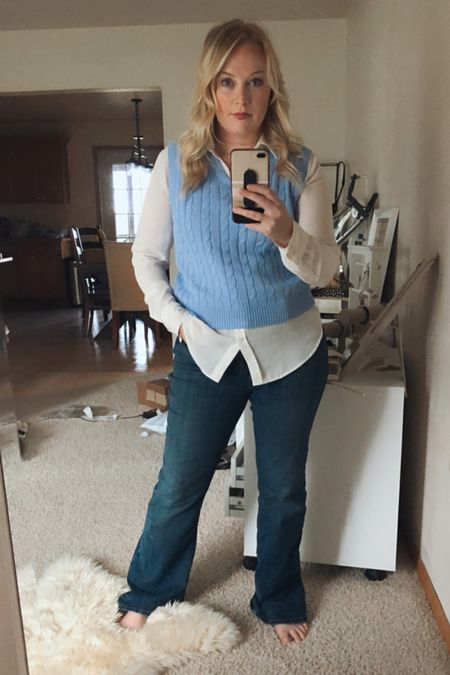 I'm always a sucker for a sweater vest! This is also one of my very favorite white buttons down shirts. It's a classic piece. #hocspring