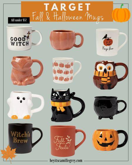 Target Fall and Halloween Mugs all under $5 Pumpkins, cauldrons, cats, foxes, ghosts, owls, etc   #LTKhome #LTKSeasonal #LTKunder50