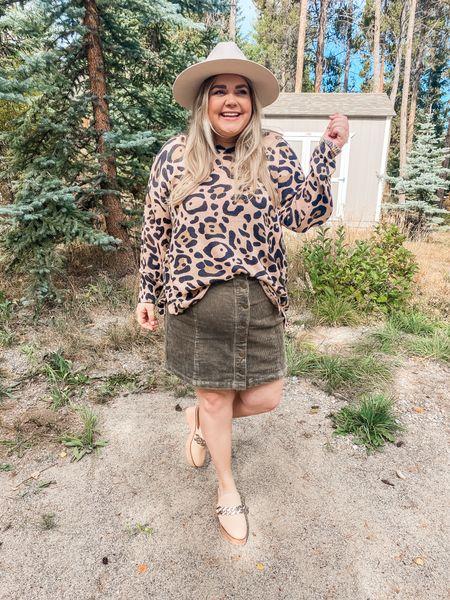 Show me your mumu sweater in xxl. Runs big. Corduroy skirt in 2x. Chunky mules. Fall plus size outfit    #LTKcurves #LTKunder100 #LTKSeasonal