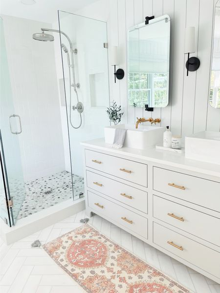 So excited to share this labor of love ❤️ Anyone else have a bathroom that needs updating???? Details here and on the blog.   COFFEEANDCANNOLI.COM   #LTKhome