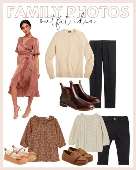 Family photo outfit ideas: featuring a blush pink satin dress, men's cream cashmere sweater with boots, a little girl's rustic brown dress and a little boy's cable knit sweater.   #LTKunder100 #LTKfamily #LTKHoliday