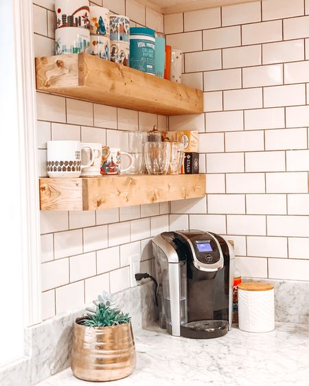 Love our new custom floating shelves in our kitchen. Created a new coffee corner. Linked my favorite mugs, coffee maker and of course the shelves! http://liketk.it/2PUtr   #LTKhome #StayHomeWithLTK #LTKunder50 #liketkit @liketoknow.it @liketoknow.it.home   Shop your screenshot of this pic with the LIKEtoKNOW.it shopping app