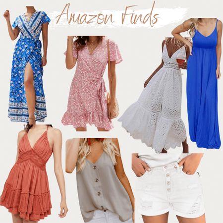 http://liketk.it/3iuFZ #liketkit @liketoknow.it found it on Amazon, Amazon fashion, Amazon fashion finds, boho, maxi dress, wrap dress, eyelet dress, floral dress, vibrant dress, lace dress, boho dress, cami tank top, white shorts, distressed shorts, backless dress, mid-rise shorts, ruffle dress, summer outfit, summer style, vacation outfit, beach vacation