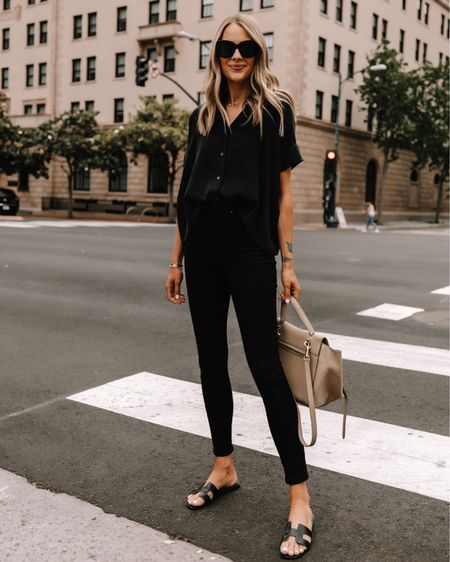 Love this all black outfit for summer. Comfortable for errands but still looks put together! Top (size 2) jeans (tts) both under $100 http://liketk.it/3h6tj #liketkit @liketoknow.it #LTKunder100 #LTKstyletip #LTKshoecrush #everlane #blackjeans #sandals #businesscausal