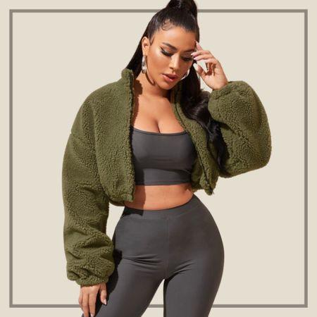 Zip up crop teddy jacket from Shein   #LTKstyletip #LTKunder50