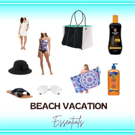 Beach vacation essentials! Bikini cover ups, swimsuits, beach hats, sunglasses, beach sandals , beach towels, beach bag, sunscreen and more!  http://liketk.it/3g2Sz #liketkit @liketoknow.it #LTKsalealert #LTKunder50 #LTKswim