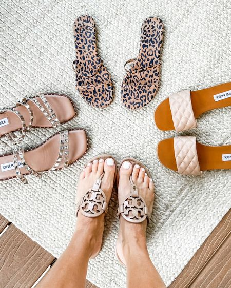 Tory Burch neutral Miller sandals. Animal print slides. Tkees cheetah sandals. Steve Madden quilted flat sandals. Steve Madden studded sandals. @liketoknow.it http://liketk.it/3jqGc #liketkit
