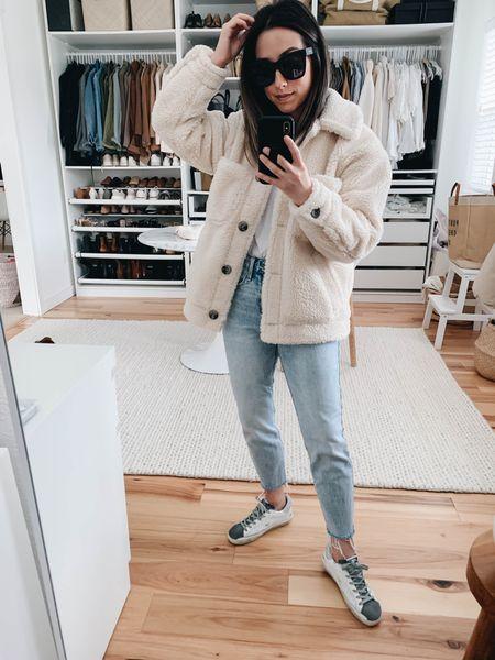 Sherpa borg coat. How to style Golden Goose sneakers.   Coat - Topshop petite xs Tee - Everlane xxs Jeans - Old Navy petite 24 Sneakers - Golden Goose 35 Sunglasses - Quay  http://liketk.it/38pVC #liketkit @liketoknow.it