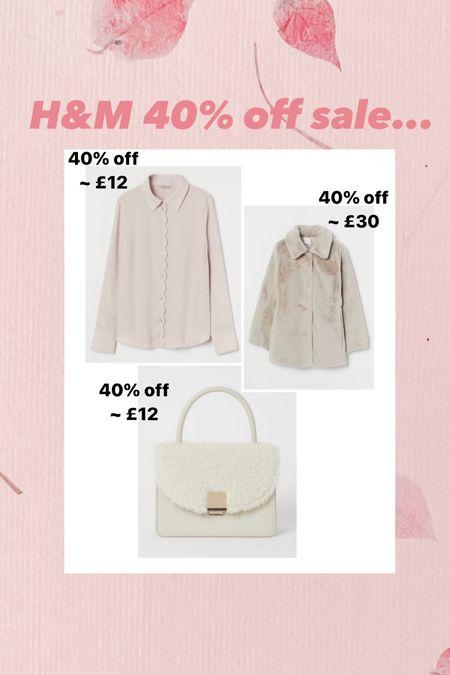 H&M sale finds.. 40% off - faux fur coat - under £30 - blouse - shearling bag - handbag - blouse     #LTKsalealert #LTKunder50 #LTKworkwear