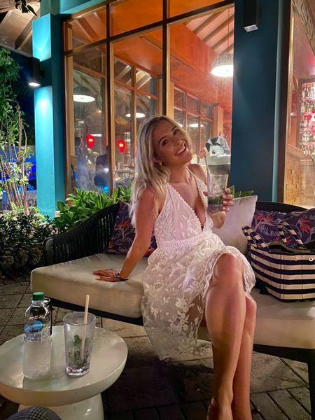 White dress - Amazon fashion - Amazon dress - lace dress - lacey dress - white mini dress - wedding dress - wedding outfit - all white outfit - floaty dress - prada bag - stripe bag - Prada beach bag - Prada striped bag - Prada tote bag - plunge dress - strappy dress   #LTKsalealert #LTKunder50 #LTKeurope